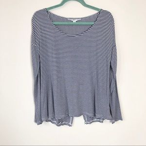 Jack Striped Split Back Long Sleeve Top